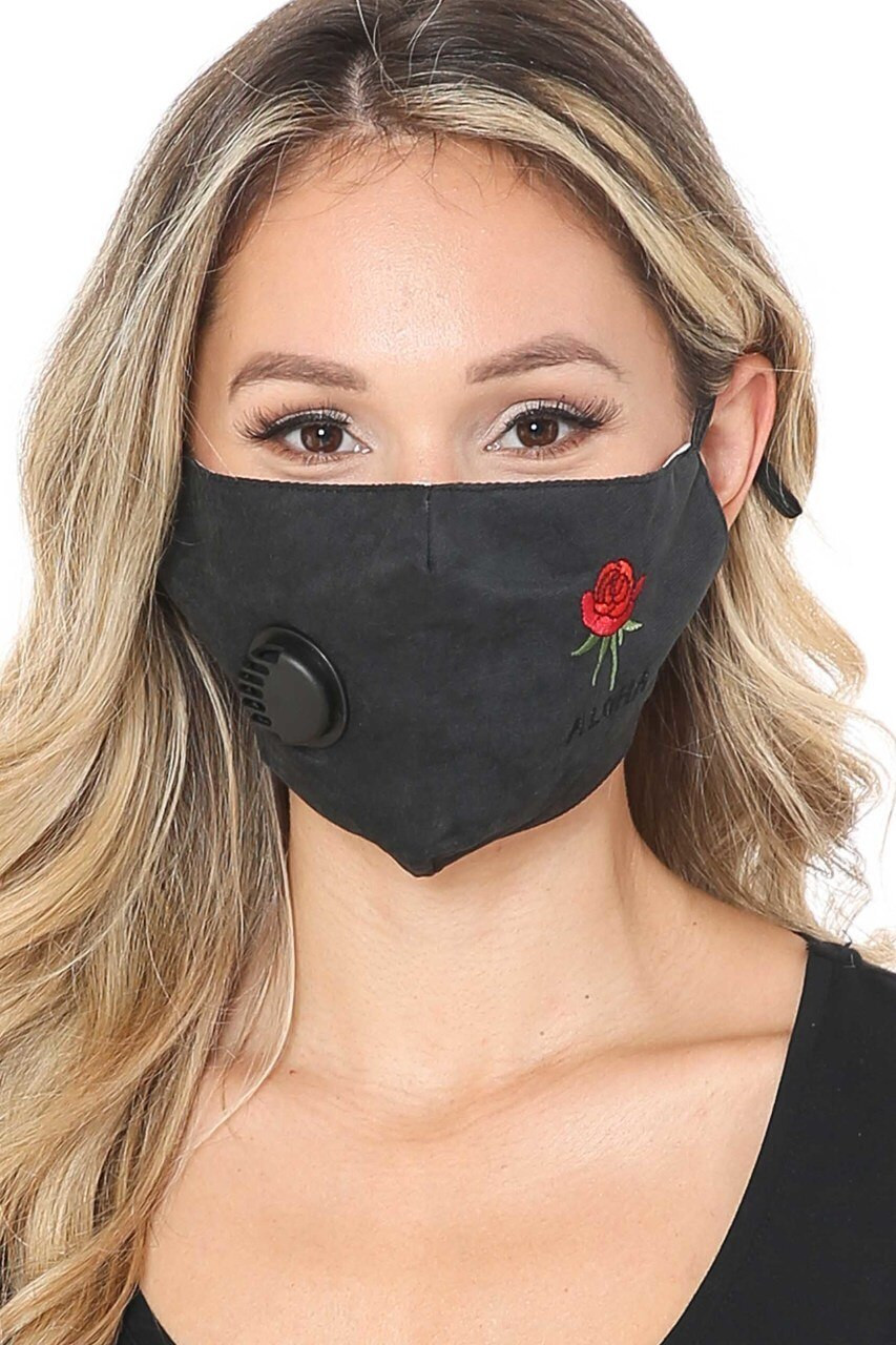 Black Front Aloha Rose Black Face Mask with Air Valve