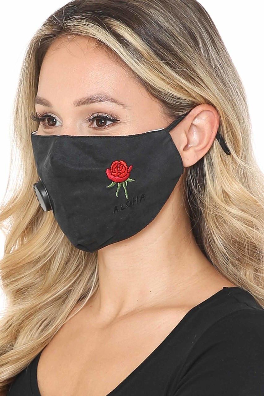 Black Side Aloha Rose Black Face Mask with Air Valve
