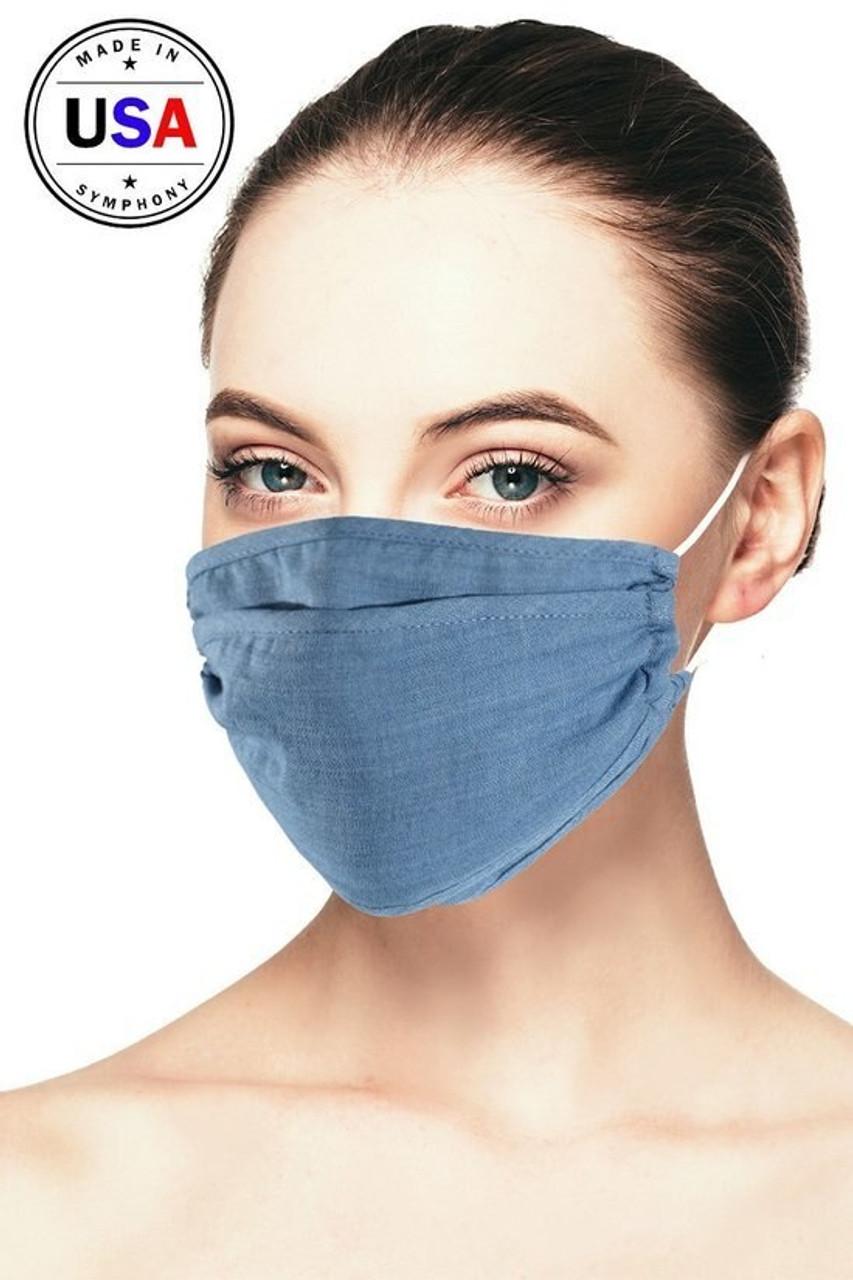 Tri-Fold Denim Face Mask - Made in USA