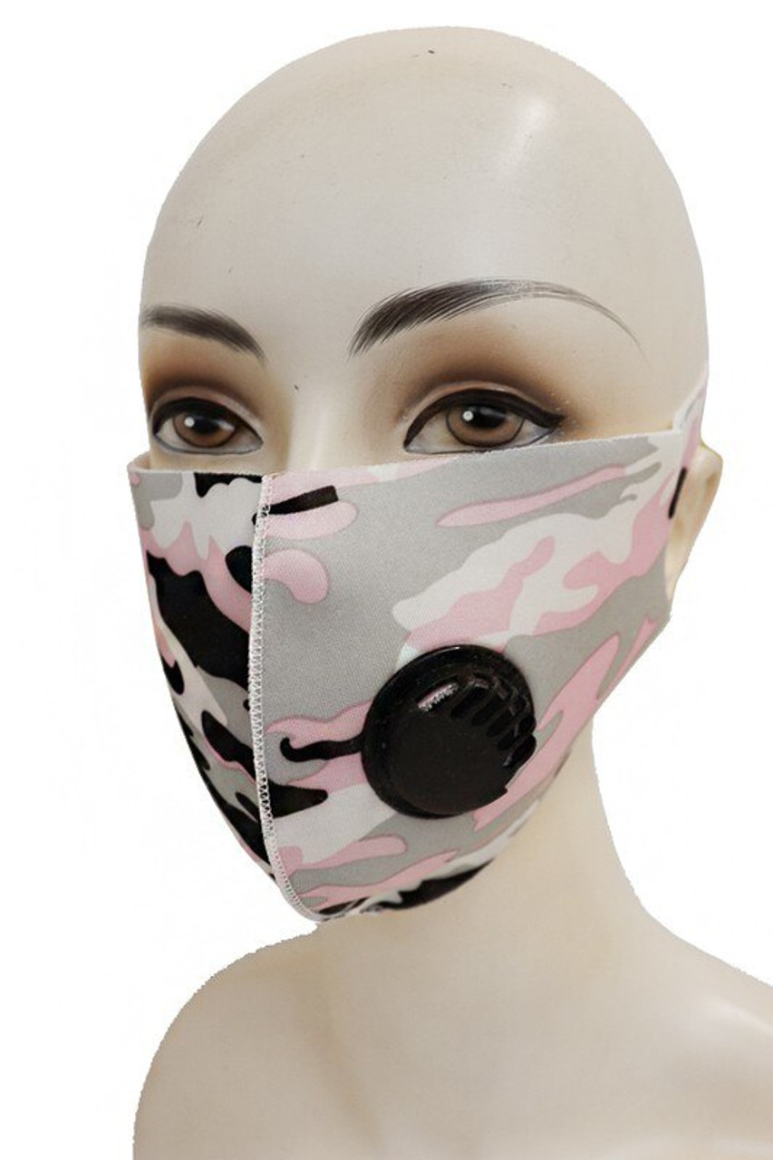Reusable Single Ply Camouflage Face Masks - Air Valve