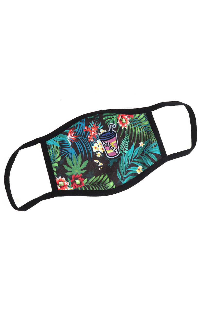 Tropical Floral Graphic Print Face Mask with Magnetic Straw Hole