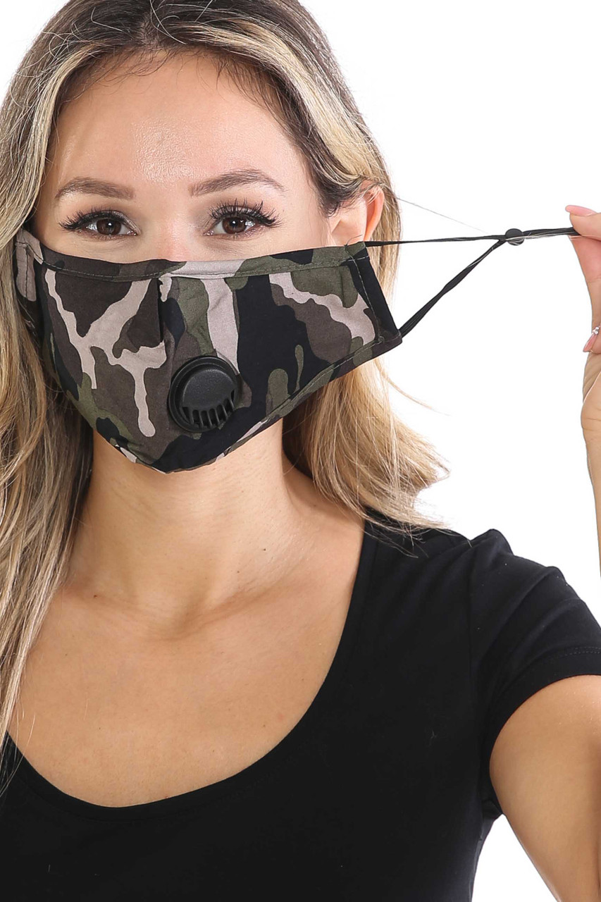 Camouflage Air Valve Face Mask with Nose Bar