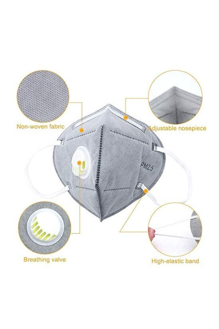 Features KN95 Face Mask with Air Valve - Individually Wrapped