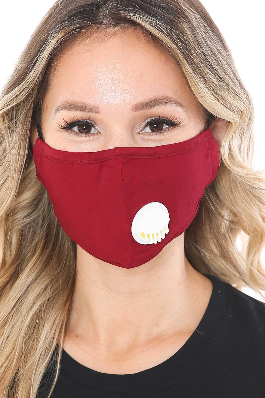 Solid Color Face Masks with Air Valve and Filter Pocket
