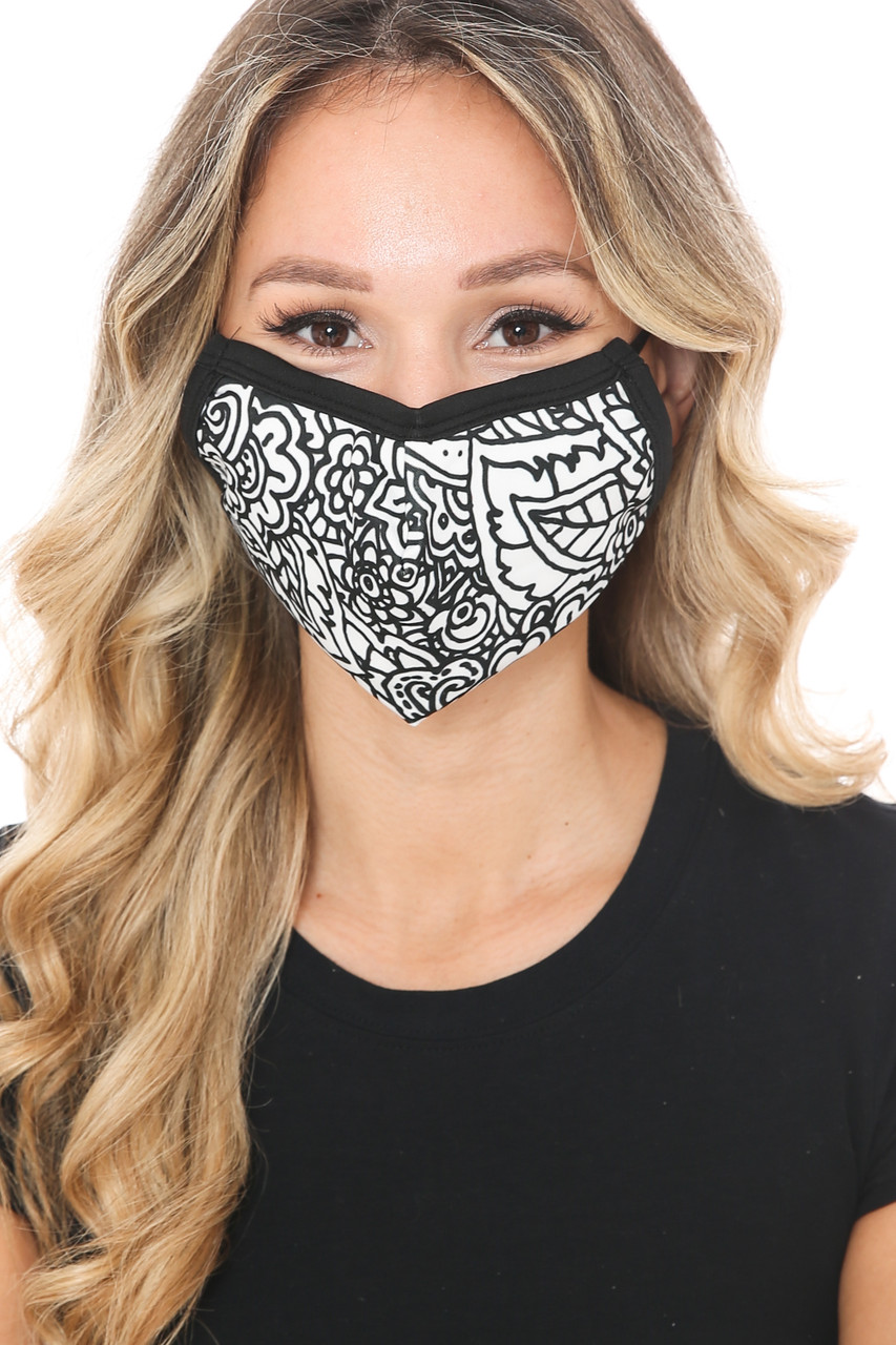 Black and White Floral Graphic Print Face Mask