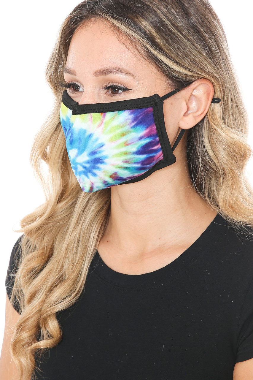 Tie Dye Swirl Graphic Print Face Mask