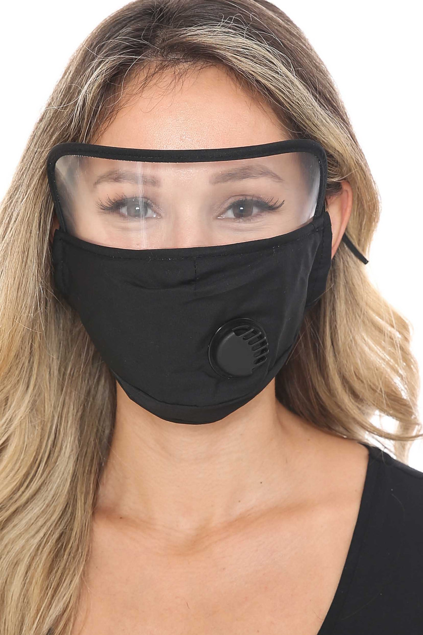 Black Face Mask with Air Valve and Face Shield