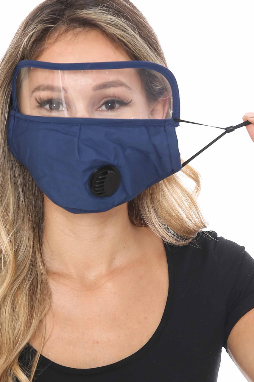Navy Blue Face Mask with Air Valve and Face Shield Showing Ear Strings