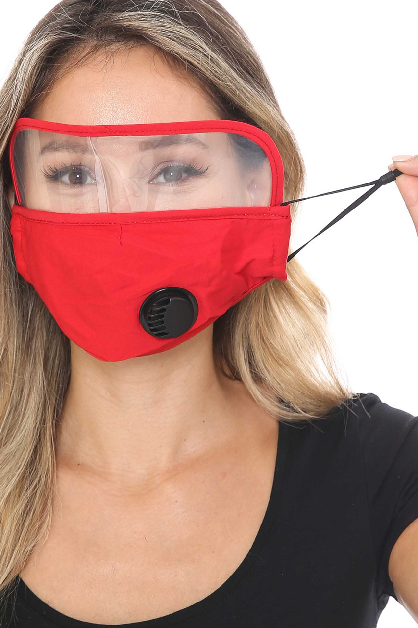 Red Face Mask with Air Valve and Face Shield Showing Ear Strings