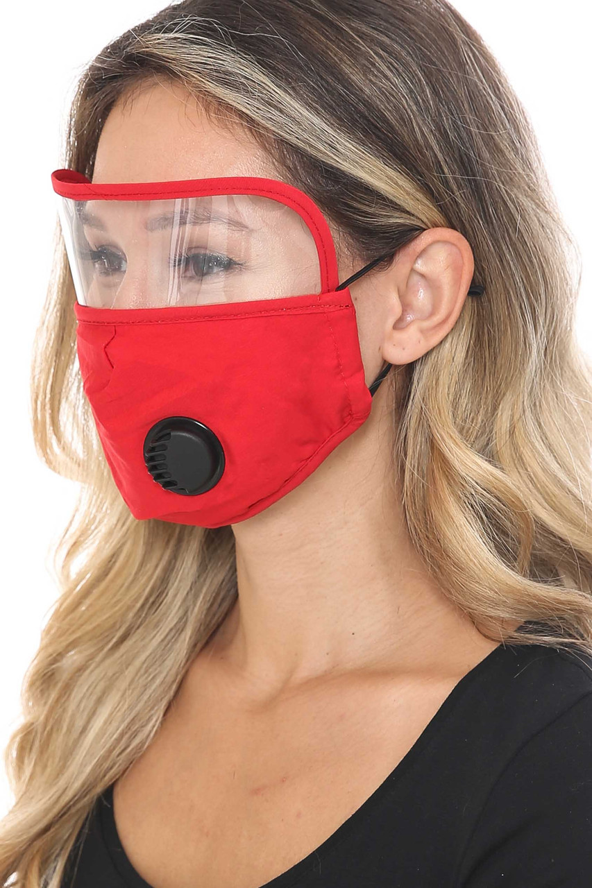 Side Image of Red Face Mask with Air Valve and Face Shield