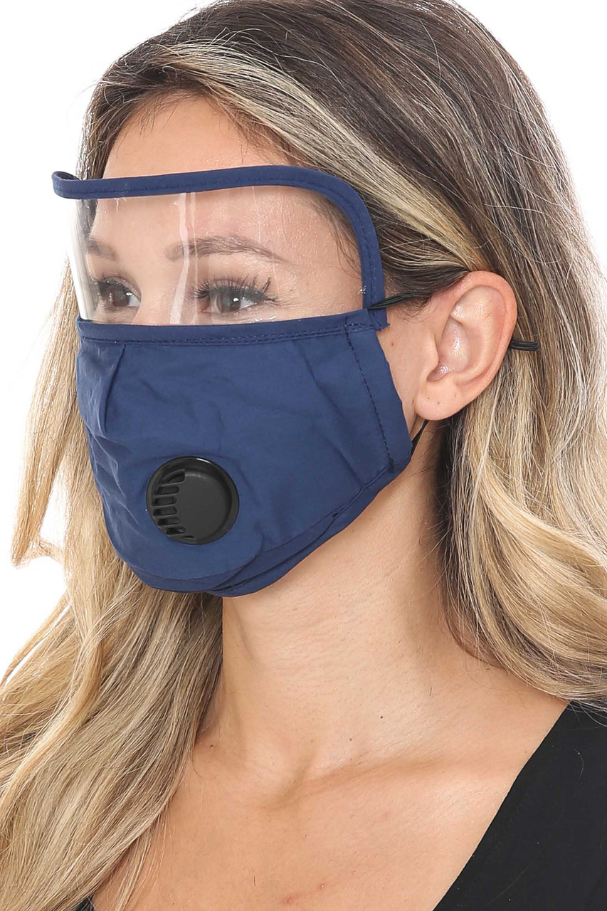 Side Image of Navy Blue Face Mask with Air Valve and Face Shield