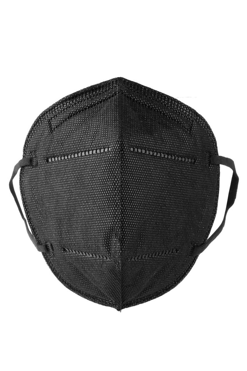 Isolated Front Image of Black KN95 Medical Mask