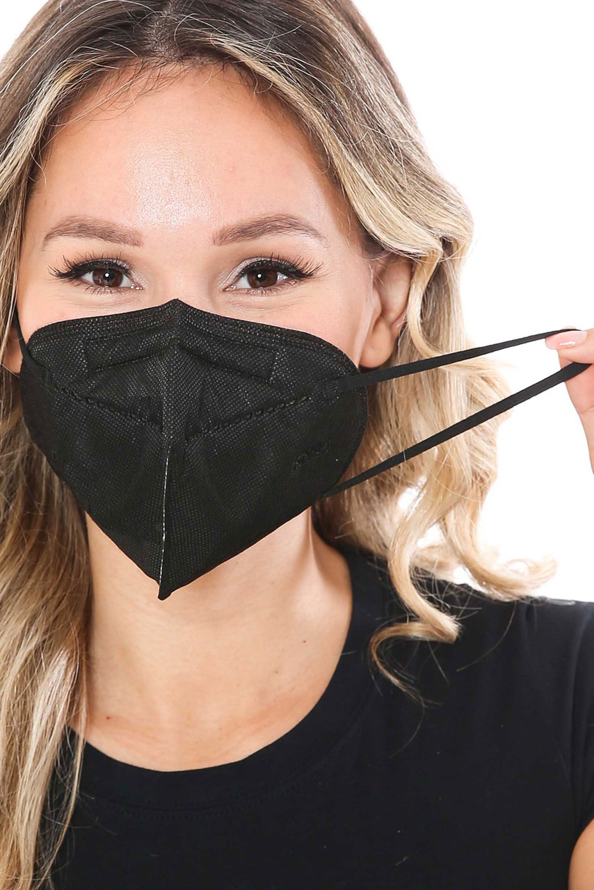 Front Image of Black KN95 Face Mask Showing Ear Strings