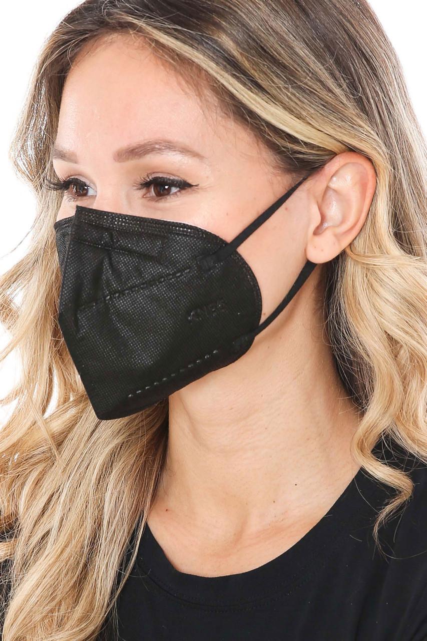 Left Side image of Black KN95 Face Mask