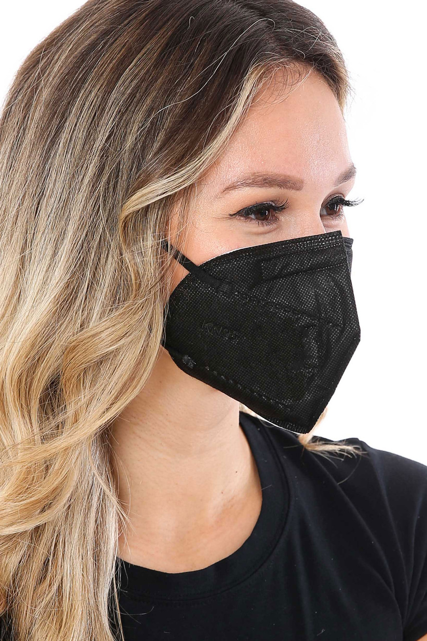 Right Side image of Black KN95 Face Mask