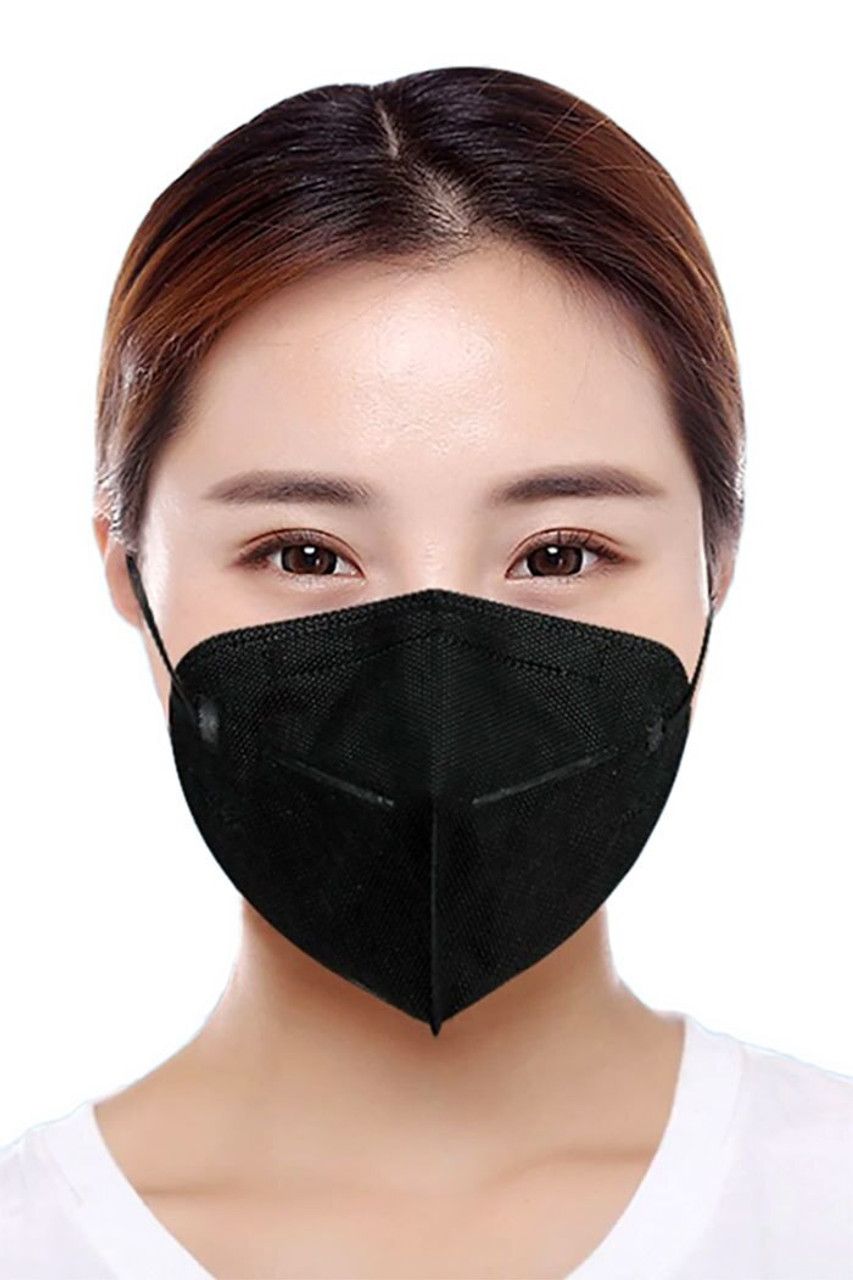 Woman wearing Black KN95 Face Mask - 50 Pack