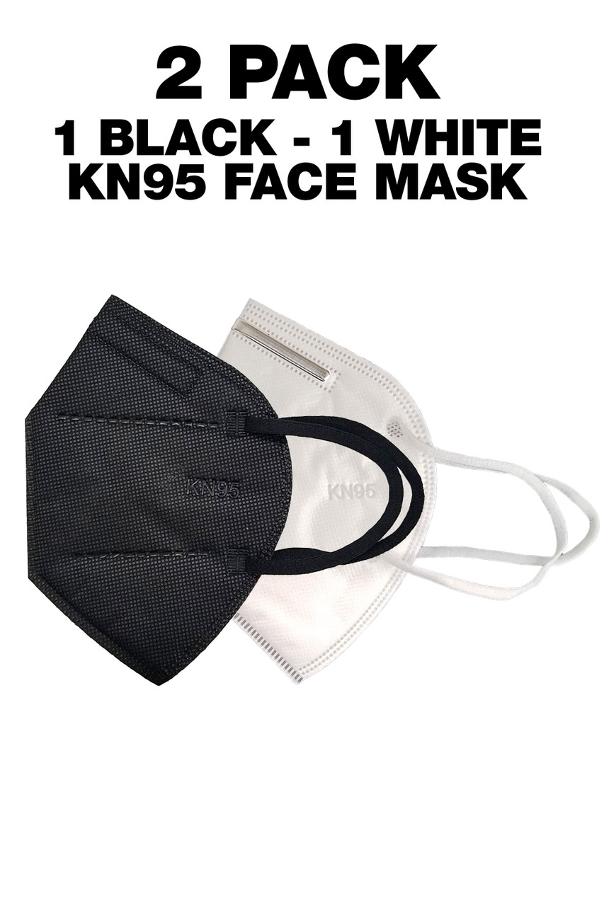 1 Black KN95 Face Mask and 1 White KN95 Face Mask