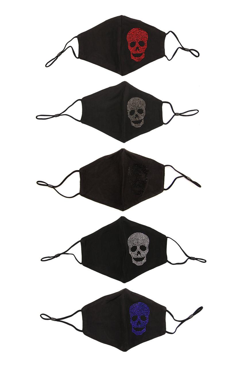 Rhinestone Cotton Skull Face Mask