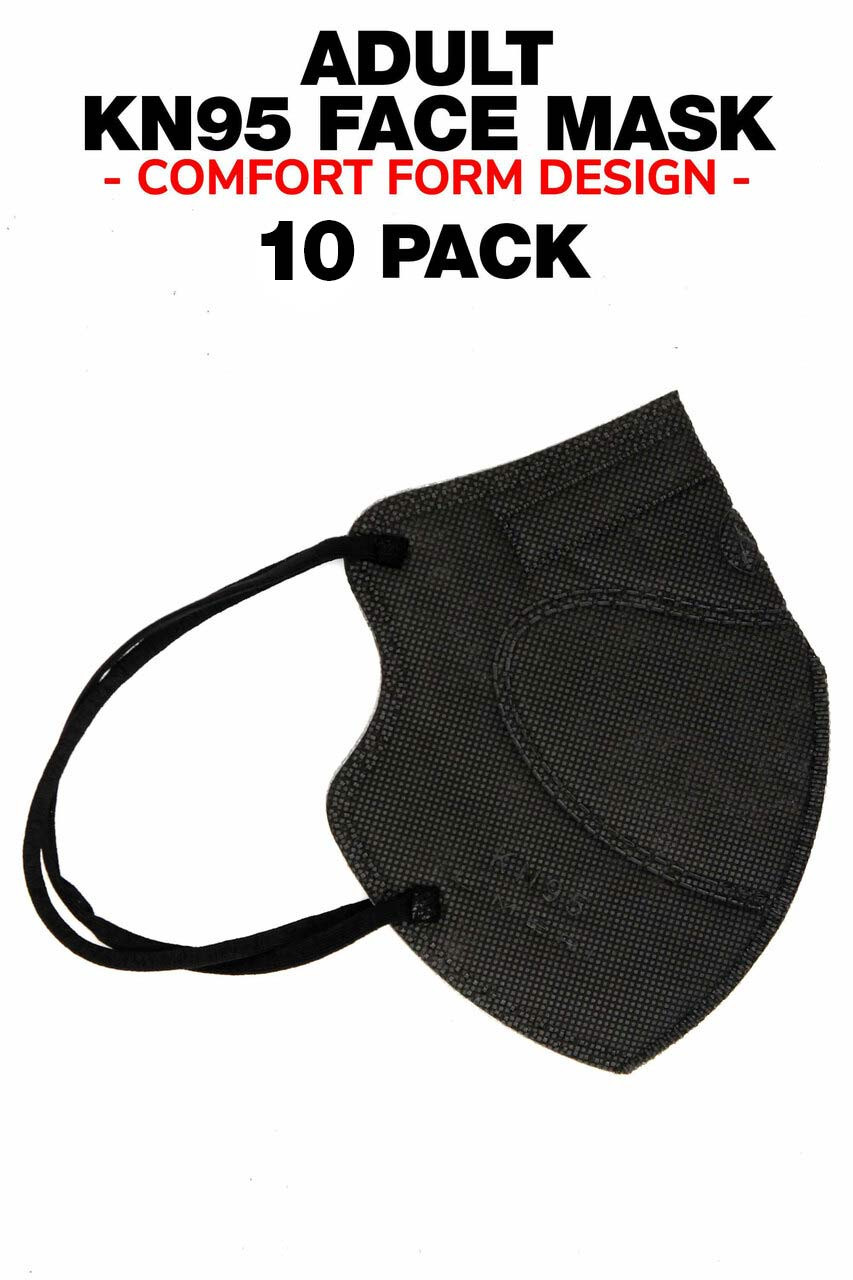 Black 10 Pack - KN95 Face Mask - Comfort Fit - Individually Sealed
