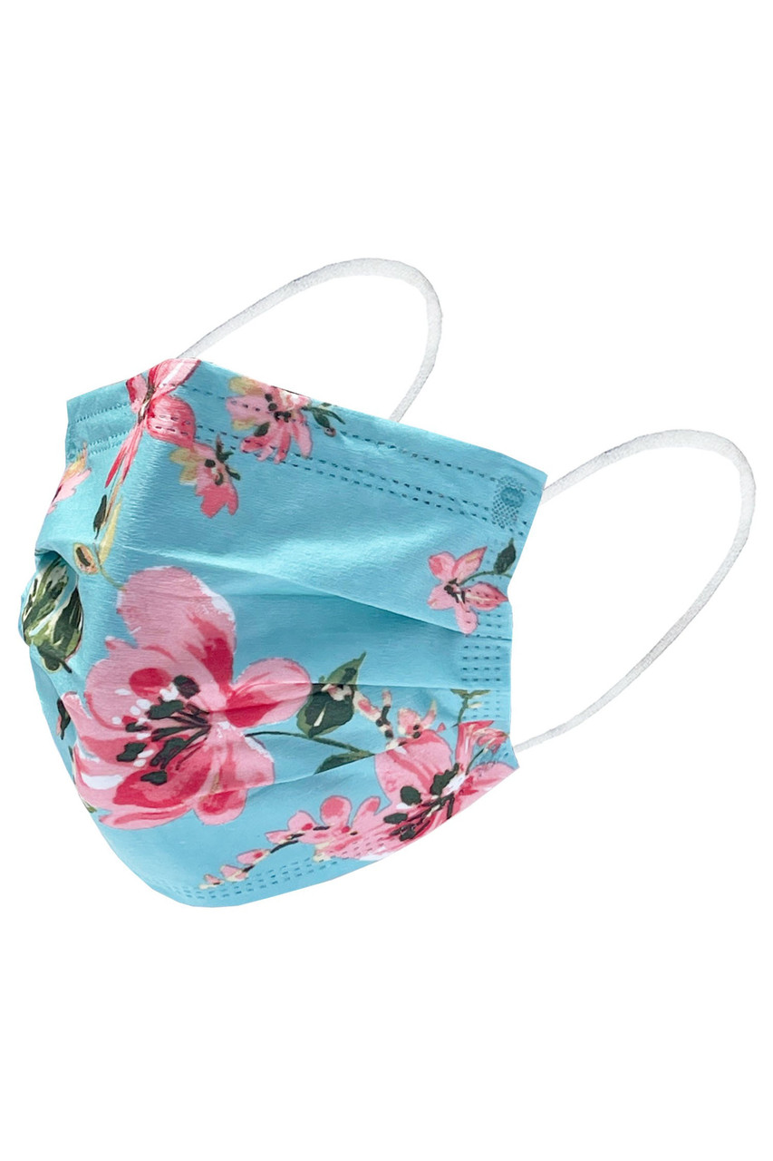 Beautiful Floral Disposable Surgical Face Mask - 50 Pack - 5 Styles
