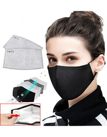 Side view of female wearing a 3-ply surgical mask
