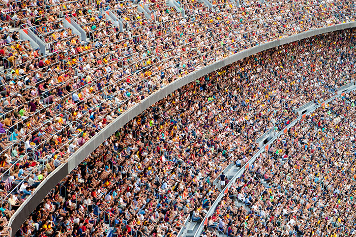 A crowd of people at a sporting event