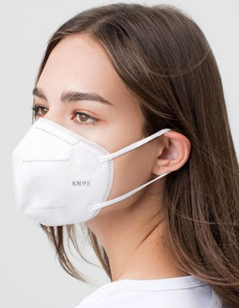 Side view of female with KN95 medical mask on