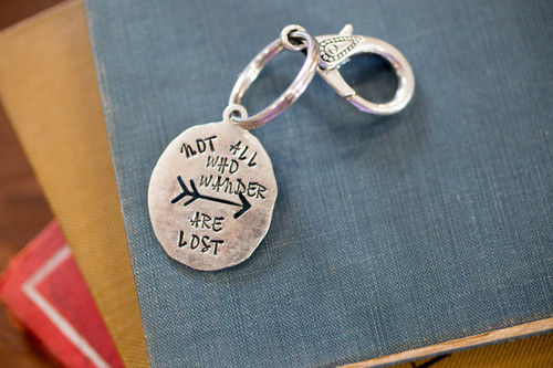 Not all who wander are lost  keychain/bag tag