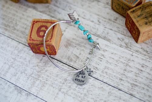 God is my arrow Bangle Bracelet
