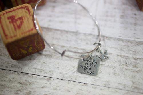 Love you to the moon & back Bangle Bracelet