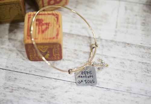 Hope anchors the soul Bangle Bracelet