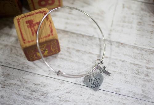 Faith over Fear Bangle Bracelet
