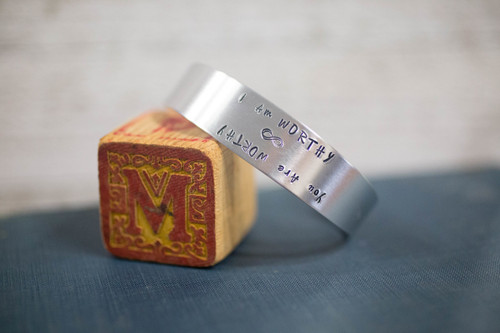 I am/ You are Worthy Tapered Cuff Reflection Bracelet