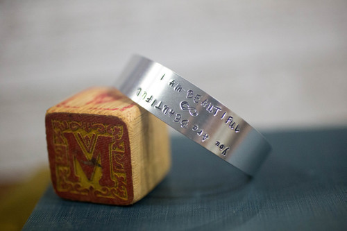 I am/ You are Beautiful Tapered Cuff Reflection Bracelet