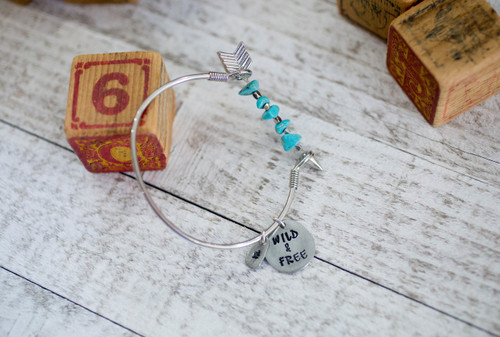 Personalized Arrow Bangle Bracelet