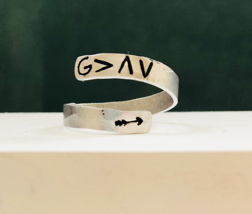 God is greater than the highs and lows wrap ring -skinny