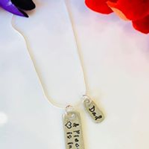 A piece of my heart is in heaven bar necklace with cutout heart, comes with one tag to be personalized