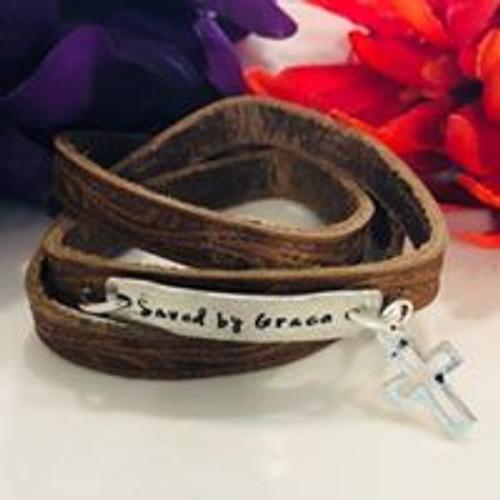 Saved by Grace Wide Wrap Leather Bracelet