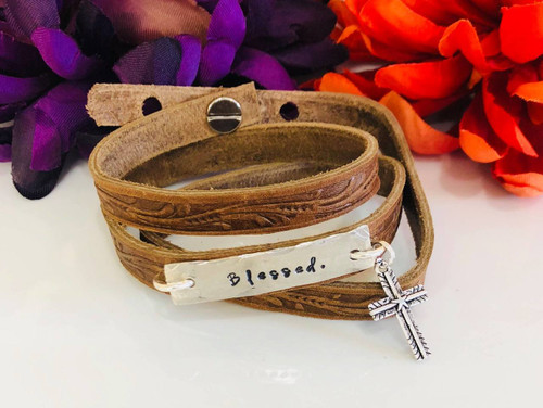 Blessed Wide Wrap Leather Bracelet