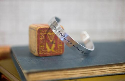 encourage. believe. inspire. love Cuff Bracelet