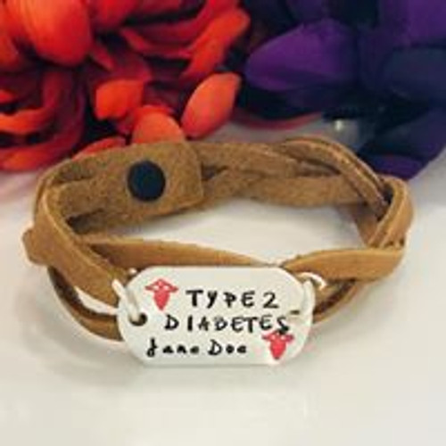 Medical Alert Braided leather & Aluminum Dog Tag Bracelet