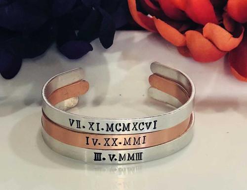 """3/8"""" Aluminum Roman Numeral Cuff Bracelet"""