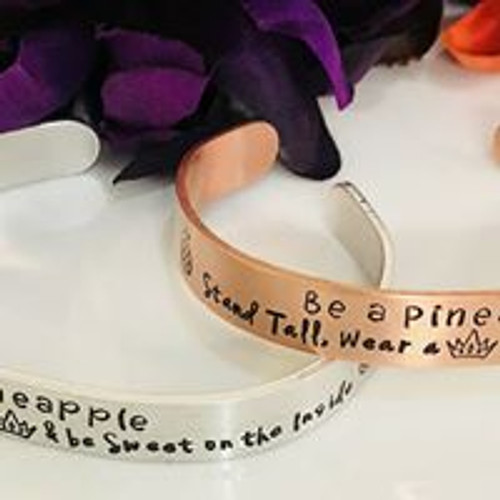 "Be a Pineapple 3/8"" cuff bracelet"
