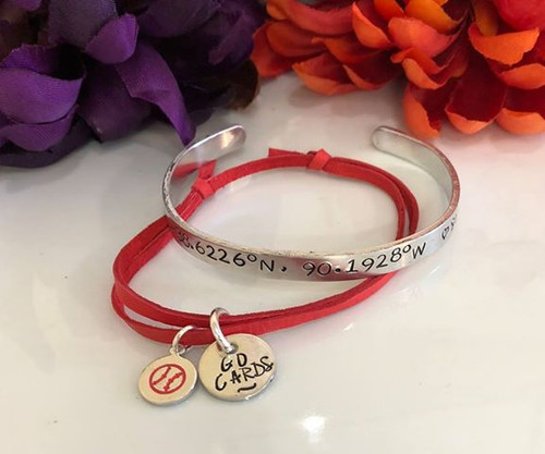 Red Soft Leather sliding knot Cardinals Bracelet
