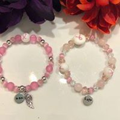 Breast Cancer Beaded Bracelet with personalized tag or charm