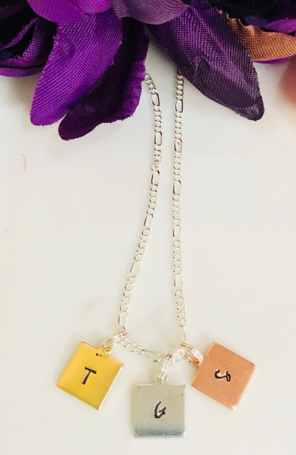 Small Square Tag Initial Charm Necklace (One Charm)