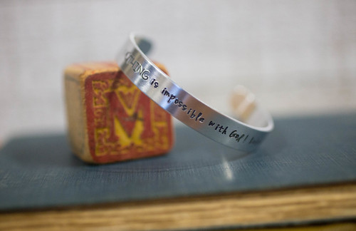 For with God nothing shall be impossible! Luke 1:37 Cuff Bracelet