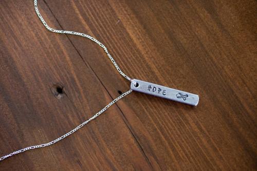Cancer hope 3D bar necklace