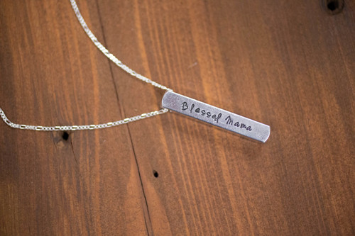 Blessed Mama 3D Bar Necklace