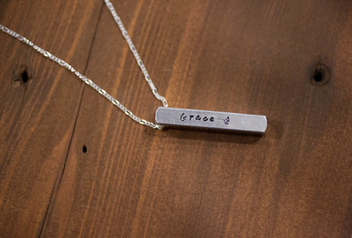 Grace, Mercy, Forgiveness, Love 3D Bar Necklace